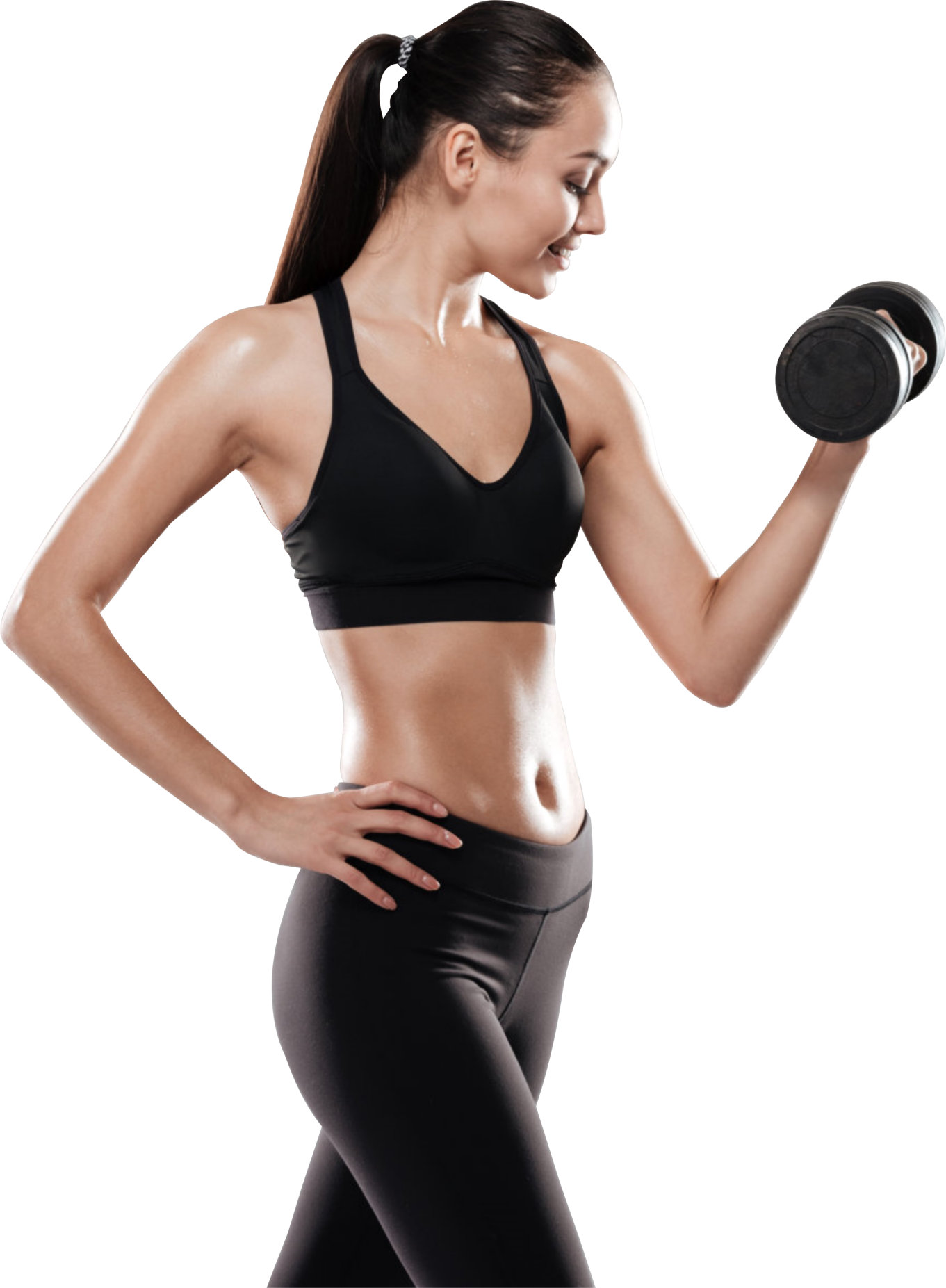 Sporting woman using dumbbell
